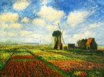 tulip field with the rijnsburg windmill ii by claude monet paintings