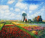 tulip field with the rijnsburg windmill by claude monet painting