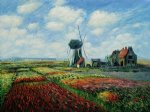 tulip field with the rinjnsburg windmill by claude monet paintings