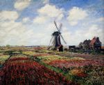 tulip fields with the rijnsburg windmill by claude monet paintings