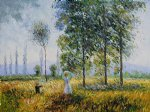 under the poplars sun effect by claude monet paintings