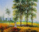 under the poplars sunlight effect by claude monet paintings