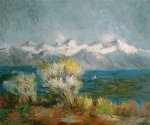 view of the bay at antibes and maritime alps by claude monet paintings