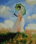 woman with a parasol facing left ii by claude monet paintings