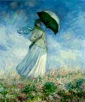 woman with a parasol facing right ii by claude monet paintings