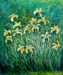 claude monet yellow irises painting
