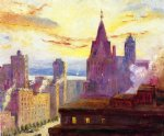 colin campbell cooper rooftops at sunset painting 35912