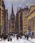 street original paintings - wall street facing trinity church by colin campbell cooper
