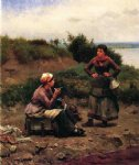 daniel ridgway knight art - a discussion between two young ladies by daniel ridgway knight