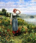 daniel ridgway knight art - a field of flowers by daniel ridgway knight