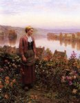 daniel ridgway knight art - a garden above the seine rolleboise by daniel ridgway knight