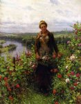 daniel ridgway knight art - a maid in her garden by daniel ridgway knight