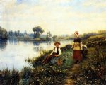 daniel ridgway knight art - a passing conversation by daniel ridgway knight
