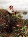 daniel ridgway knight acrylic paintings - a pensive monent by daniel ridgway knight