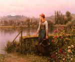 daniel ridgway knight acrylic paintings - a woman with a watering can by the river by daniel ridgway knight