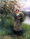 daniel ridgway knight art - apple blossoms in normandy by daniel ridgway knight
