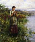daniel ridgway knight art - baiting the hook by daniel ridgway knight