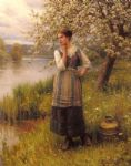 beneath the apple tree by daniel ridgway knight oil paintings