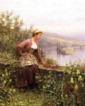 daniel ridgway knight art - brittany girl overlooking stream by daniel ridgway knight