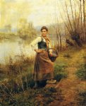 daniel ridgway knight art - country girl by daniel ridgway knight