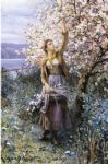 gathering apple blossoms by daniel ridgway knight oil paintings