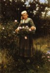 daniel ridgway knight art - gathering roses by daniel ridgway knight