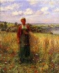 gathering wheat by daniel ridgway knight painting