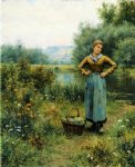 daniel ridgway knight girl in a landscape painting
