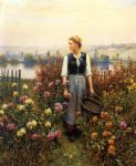 girl acrylic paintings - girl with a basket in a garden by daniel ridgway knight