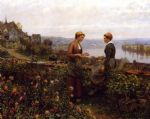 gossiping by daniel ridgway knight oil paintings