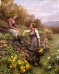 daniel ridgway knight acrylic paintings - gossips by daniel ridgway knight