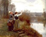 hailing the ferry by daniel ridgway knight oil paintings