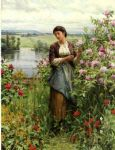 rose famous paintings - julia among the roses by daniel ridgway knight
