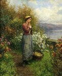 daniel ridgway knight original paintings - julia on the terrace by daniel ridgway knight