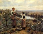 daniel ridgway knight knight picking flowers painting 80012
