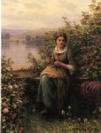 daniel ridgway knight original paintings - mending by daniel ridgway knight