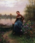 daniel ridgway knight original paintings - on the river s edge by daniel ridgway knight