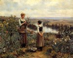 daniel ridgway knight original paintings - picking flowers by daniel ridgway knight