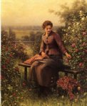 daniel ridgway knight original paintings - seated girl with flowers by daniel ridgway knight
