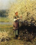 daniel ridgway knight original paintings - spring blossoms by daniel ridgway knight