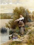 daniel ridgway knight original paintings - the laundress by daniel ridgway knight