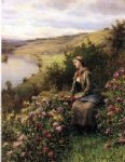 daniel ridgway knight original paintings - waiting by daniel ridgway knight