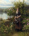 daniel ridgway knight original paintings - watering the garden by daniel ridgway knight