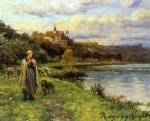 daniel ridgway knight original paintings - woman by the water by daniel ridgway knight