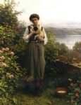 daniel ridgway knight young girl holding a puppy painting-35888
