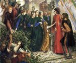 dante gabriel rossetti art - beatrice meeting dante at a wedding feast denies him her salutation by dante gabriel rossetti