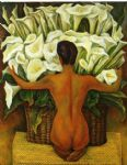 nude with calla lilies by diego rivera painting
