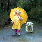 rainy day pals by donald zolan painting