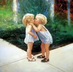 twins kissing by donald zolan painting