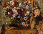 a woman seated beside a vase of flowers by edgar degas prints